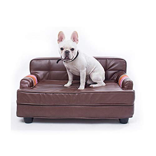 Lrhps Hundebett, Hundesofa Atlanta Kunstleder wasserabweisend,Leicht zu reinigen, für kleine, mittlere und große Hunde geeignet -