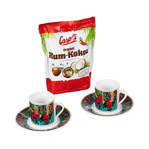 Unbekannt Espresso-Tassen-Set, Kaffeeservice, Dschungel-Dekor, mit Rum-Kokos-Kugeln, Henkeltasse, Pralinen, Geschenk, Papagei, Porzellan
