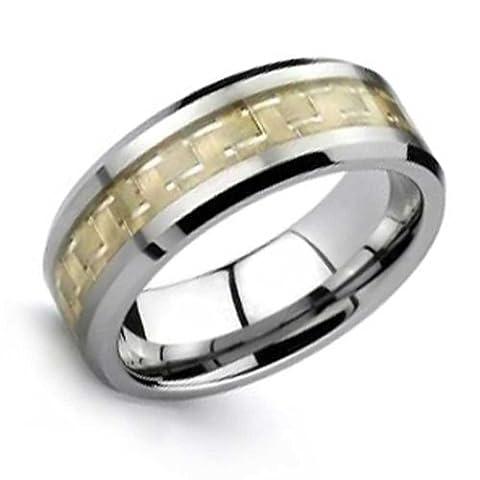 Bling Jewelry Incrustation en fibre de carbone de tungstène anneau plaqué or 8mm avec une gravure