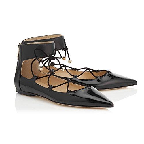 EDEFS Femmes Artisan Fashion Ballerines Uniques Pointus Lacets Croisés Cheville Plates Chaussures Noir