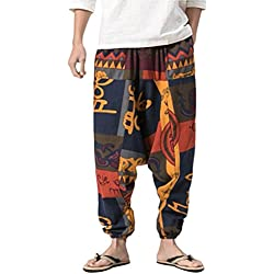 Zhhlaixing ropa hippie hombre pantalones harem bombachos para hombre y mujeres Men's Aladdin Pants Summer Boho Harem Pants Wide Leg Soft Linen Trousers