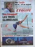 EQUIPE [No 21204] du 02/08/2012 - LONDRES - NATATION AVEC CAMILLE MUFFAT ET ALLISON SCHMITT - CANOE ET ESTANGUET - JUDO AVEC GEVRISE EMANE