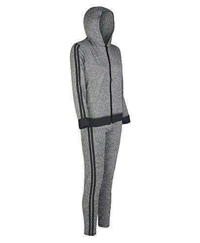 lotmart femmes à capuche veste fermeture éclair Legging Sport Ensemble femme ACTIF 2 côtés Yoga Costume Noir
