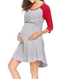 BBsmile premamá Camisetas, Maternidad para Mujeres Vestido de enfermería Bata de Noche Amamantamiento Nightshirt Ropa