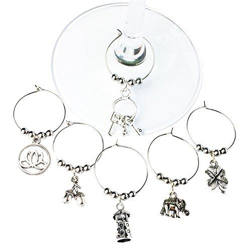6 'Lucky Set #1' Wine Glass Charms, Glasmarkierer (Eichel, Elefant, Vierblättriges...