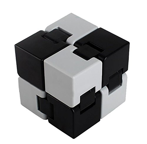 Malloom 2017 New Style Toy Fidget Cube Ring Stress Anxiety Ring Toy Relieves Stress And Anxiety And Relax (Black +Gray)