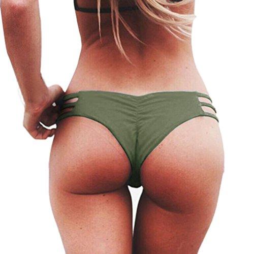 Bademode Damen, GJKK Damen Tanga Bikinihose String Weave Bandage Rüschen Brazilian Bikini Slip Schnüren Höschen Badeshorts Bikinihose Schwimmhose (Armeegrün, L) (Bh-top Neckholder Streifen)