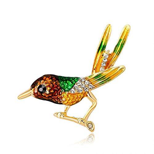 Frauen Corsage, Brosche Natürliche einfache Mode Vogel Brosche Kostüm mit Schmuck Farbe Tropfen Öl Exquisite Tier Brosche 2-teiliges Set