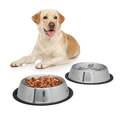 Relaxdays 10023458_59 2er Napfset Hund, Hundenapf für Wasser, Futternapf, rutschfest, rostfrei, Edelstahlnapf Größe L, 0.75 l, Silber -