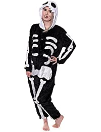 Adulto Esqueleto Onesie pijamas de forro polar pijama Cartoon Animal disfraz de Halloween cosplay Unisex negro