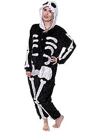 Adulto Esqueleto Onesie pijamas de forro polar pijama Cartoon Animal disfraz de Halloween cosplay Unisex negro
