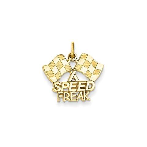 Black Bow Jewellery Company : Speed Freak Checkered Racing Flags Pendant in 14 Karat Yellow Gold