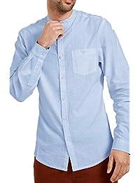 CABALLEROS lino Camisa Deshilachado Cuello MAO MANGA LARGA Trabajo Informal Verano NUEVO - Azul Claro - kmv071pkb, Small