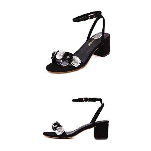 SHEO sandales à talons hauts Chemisier à talons hauts féminin avec des sandales en boucle ( Couleur : Abricot , taille : 35 ) Noir
