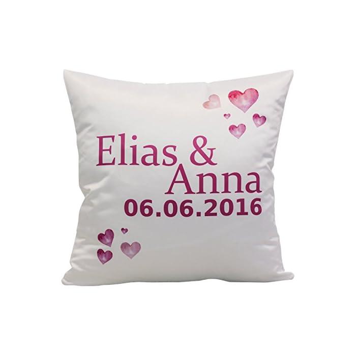 Geschenke 24 Kissen – Herzen mit Namen: bedrucktes Zierkissen mit romantischem Herz-Motiv – personalisiert mit Zwei…