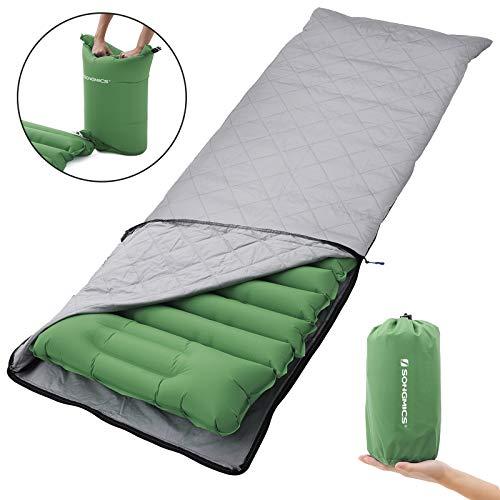 ufblasbare Isomatte mit integriertem Kissen und Stoffbezug, Luftsack zum Aufpumpen, Mobile Schlafunterlage, Reisen, Camping, Hängematte, Wandern, grün GSP03GNZ ()