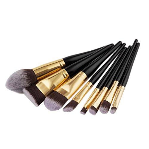 Sharplace 8pcs Brosse de Maquillage/Brush Cosmétique Beauté & Make-up Manche en Bois Brosses Completes pour Fond de Teint Fondation de Poudre Ombre Eyeshadow Anti-cerne - Doré