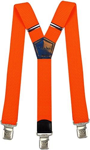 Decalen bretelle uomo y forma molto robusto clip in metallo, larghezza 4 cm di lunghezza regolabile unica misura tutti (arancione)