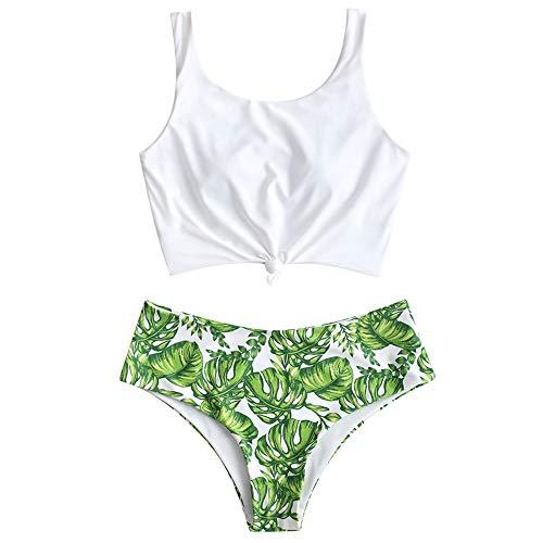 ZAFUL Damen Floral Leaf Lace Up Tropisch Blatt Verknotet Bikini Hoch Tailliert Zwei Stück Tankini Set Badeanzug (M, Grün) Floral Leaf