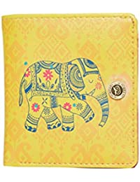 Chumbak Paisley Elephant Square Button Wallet - Yellow