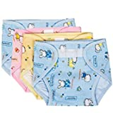 PEUBUD ® Outside Printed Soft Cotton Inside Non-Toxic PVC Plastic Waterproof U Nappy/Diaper/Langot with (Pack of 4) (3-6 Mont