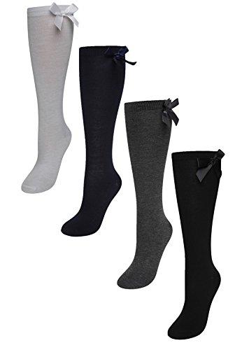 Sock Stack 6 Pairs Of Girls Bow Knee High Socks, White Grey Black Navy Long School Socks With Ribbons Bows