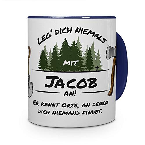 printplanet Tasse - Leg Dich Nicht mit Jacob an - Namenstasse, Kaffeebecher, Mug, Becher, Kaffeetasse - Farbe Blau