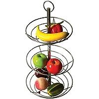 Panier à 3étages pour fruits et légumes, en chrome, avec tige en acier - Top Home Solutions®