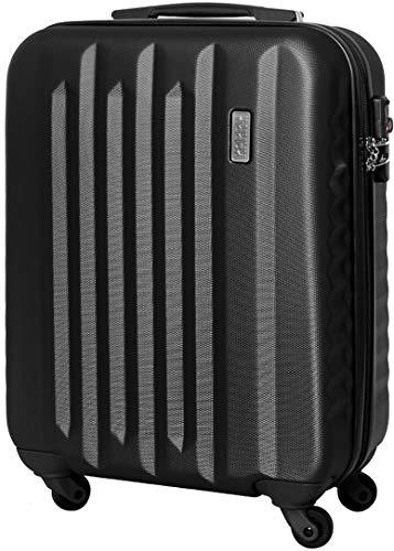 Karry Handgepäck Bordgepäck Hartschalen Koffer für Kurzreisen Urlaub Reisen Businesskoffer Trolley Case TSA Schloss 30 Liter Schwarz 8...
