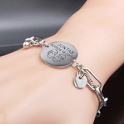 Imagen de hwoemx pulsera de acero inoxidable charm best friend silver color chain bracelet jewelry alternativa