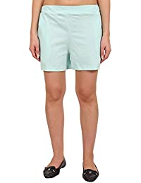 9teenAGAIN Women's Solid Hosiery Shorts(Aquamarine)
