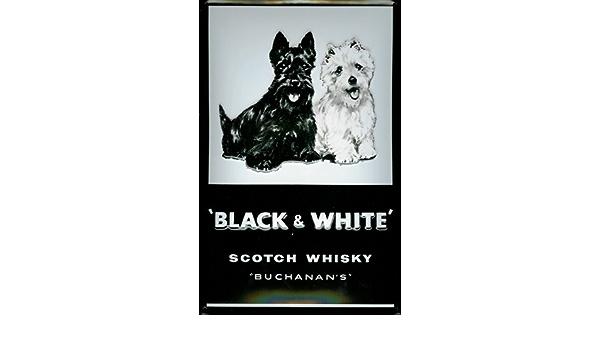 Tin Sign With Retro Black White Scotch Whisky Dogs Retro Sign Amazon De Home Kitchen