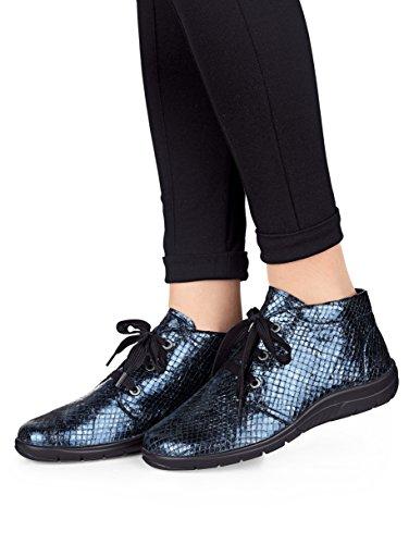 Damen Schnürstiefelette aus weichem Leder by Naturläufer blau schlange gepr