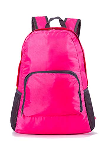 Fushenr Faltbarer Rucksack für Reisen, Bergsteigen, Wanderrucksack, atmungsaktiv, für Reisen (Rosenrot)