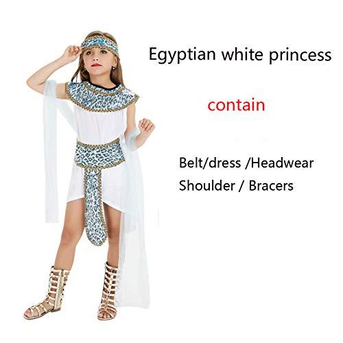 Halloween Kostüm Kinder Kostümball Erwachsene Cleopatra White Ancient Egyptian Pharao Kleidung Einschließlich Hut/Overall/Schultergurt/Gürtel (ohne Hand Requisiten),Girl-XL