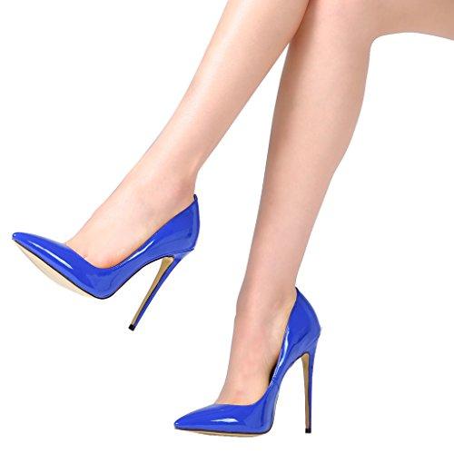 Guoar - Scarpe chiuse Donna (Blau Lackleder)