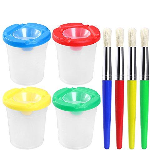 ULTNICE 4 stücke Spill Proof Tasse Nicht Verschütten Cup + 4 stücke Farbe Borsten Pinsel Farbe Sortiert -