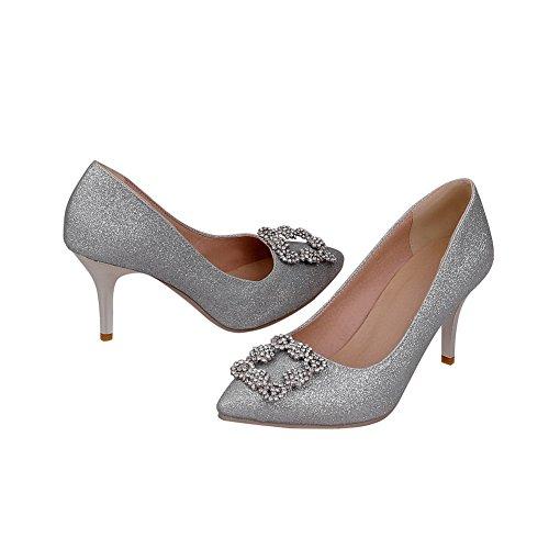 AgooLar Damen Pailletten Ziehen auf Spitz Zehe Stiletto Rein Pumps Schuhe, Silber, 41
