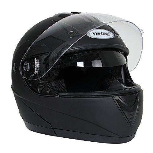 Yorbay Motorradhelm Integralhelm Doppelvisier mit integrierter Sonnerblende in verschienden Größen (XL, Schwarz matt)