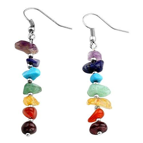 JOVIVI Schmuck,Damen Chakra Ohrringe Reiki-Energietherapie Ohrhänger 7 Steine Beads Chakra Healing Ohrring Ohrstecker (Ohrringe Chakra)