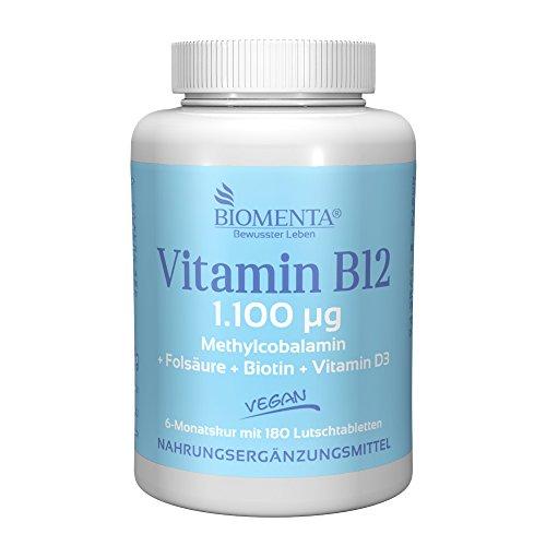 BIOMENTA VITAMIN B12 VEGAN | 1.100 mcg B 12 hochdosiert | 180 Vitamin B12 Lutschtabletten – Geschmack: Orange | optimiert mit FOLSÄURE + BIOTIN + VITAMIN D3 | 6 Monatskur – BESTES PREIS-LEISTUNGSVERHÄLTNIS
