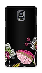 Amez designer printed 3d premium high quality back case cover forSamsung Galaxy Note 4 (black floral)
