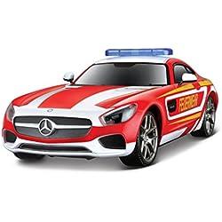 Maisto Tech R/C Mercedes AMG GT Feuerwehr: Ferngesteuerter Rennwagen, Licht- & Soundfunktion, Heckantrieb, Pistolenfernbedienung, 20 cm, rot (582096F)