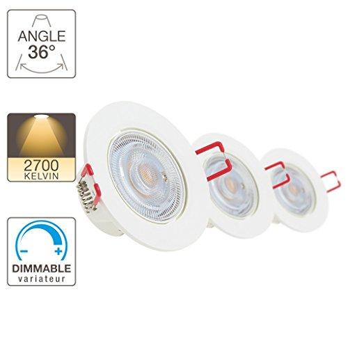 Lot de 3 spots intégrés 345 Lm Dimmable Blanc chaud6 50