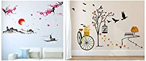 Amazon Brand - Solimo Wall Sticker for Living Room(Ride Through Nature, Ideal Size on Wall: 140 cm Wall Sticker for Living Room (The Lake & The Mountains, Ideal Size on Wall - 2 Combo