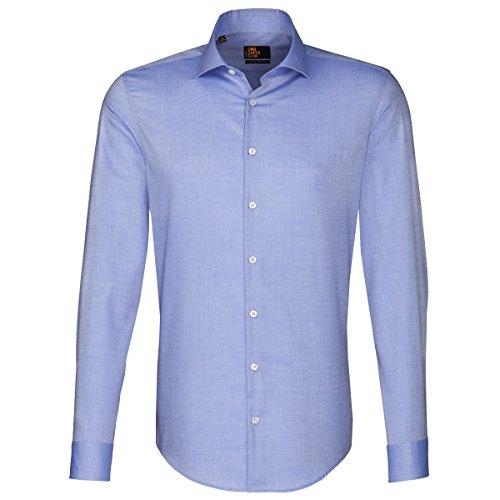 Seidensticker Herren Langarm Hemd UNO Super Slim Hai-Kragen blau strukturiert 674177.11 Blau
