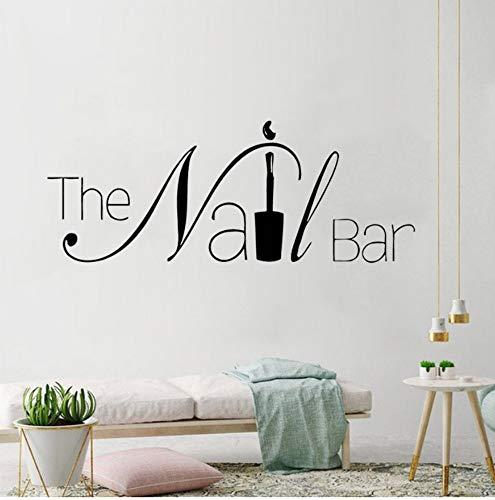 Der Nagelbalken Logo Wandaufkleber Maniküre Design Wand Decal Removalle Nail Art Wall Poster Beauty Salon Fenster Dekor AY1619 57x22cm -
