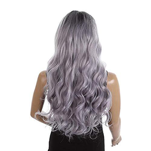 IKVRU Long Curly Wig, Women Long Hair Curly Wavy Full Head Halloween Wigs Cosplay Kostüm-Party Hairpiece 24 Zoll,OT/Grey