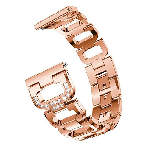 Für Samsung Galaxy Watch 42mm Armband,Colorful Luxuriöses Edelstahl Metall Damen Mädchen Straps Ersatzband Uhrenarmband Armbänder Wristband für Samsung Galaxy Watch 42mm (Roségold) - Mädchen Uhrenarmbänder Für