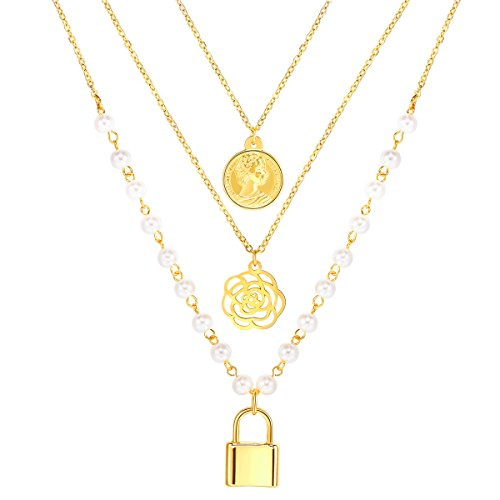 FOCALOOK Damen Multilayer Collier 18k vergoldet Perlen Kette Vorhangeschloss Rose Königin Münze...